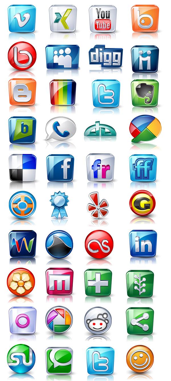 Vector social media icons pack free web design development web 20 glass style social media icons pack sciox Choice Image